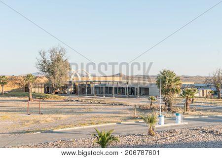 GROSS BARMEN NAMIBIA - JULY 3 2017: The entrance gate reception office and shop at Gross Barmen near Okahandja in the Otjozondjupa Region of Namibia