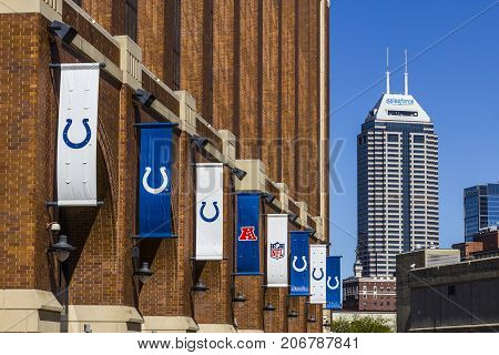 Indianapolis - Circa September 2017: Salesforce Tower as seen from Lucas Oil Stadium, home of the Colts. Salesforce Tower and Lucas Oil Stadium are part of the downtown skyline VI