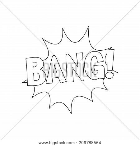 Comic speech bubble with expression text BANG. Comic speech bubble outline vector illustration for games cartoon animation and web