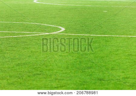 Soccer field center and sideline. White markings on a green football field
