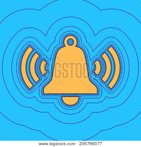 Ringing bell icon. Vector. Sand color icon with black contour and equidistant blue contours like field at sky blue background. Like waves on map - island in ocean or sea.