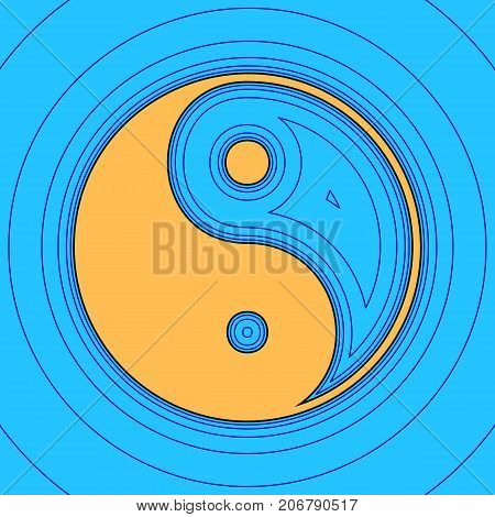 Ying yang symbol of harmony and balance. Vector. Sand color icon with black contour and equidistant blue contours like field at sky blue background. Like waves on map - island in ocean or sea.