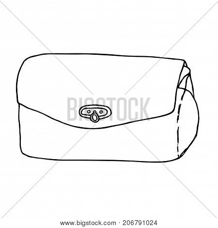 Female clutch. Classic purse isolated on white. Line art hand drawn sketch illustration.