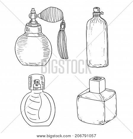 Perfume collection. 4 vintage perfume bottles. Perfume spray with tassel and futuristic fragrance can with a star. Hand drawn sketch.