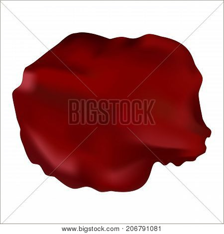 One big petal of a red rose isolated on white. Stock vector.