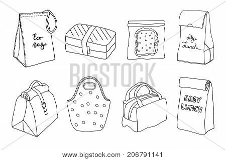Various lunch boxes and lunch bags set. Eco bag sandwich box easy lunch. Hand drawn artistic sketch illustration.