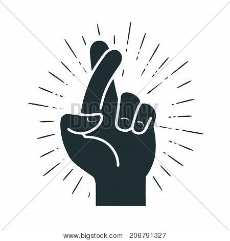 Fingers crossed, hand gesture. Lie, on luck, superstition symbol or icon. Vector illustration isolated on white background
