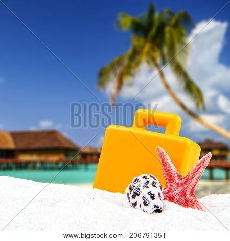 Combination Of Sandy And Suitcase Front With Blurred Tropical Island Background