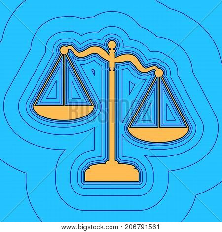 Scales of Justice sign. Vector. Sand color icon with black contour and equidistant blue contours like field at sky blue background. Like waves on map - island in ocean or sea.