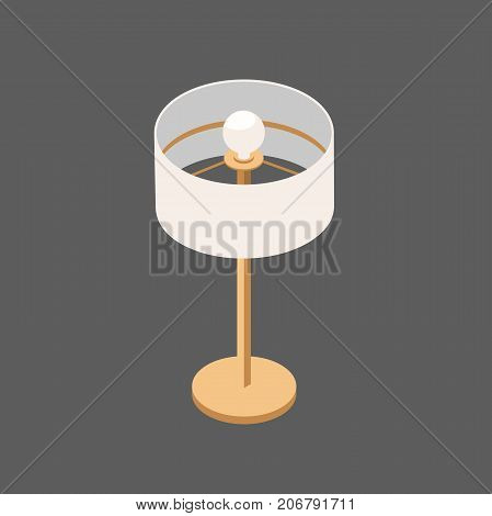 Table Lamp in Isometric View. Modern Vector Lamp Round Shape.Lamp with One Reflector.Vector 3D Illustration Isolated from Background