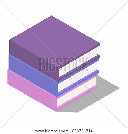books. a collection of three books, the books are stacked, books in isometric view, in isolation from the background