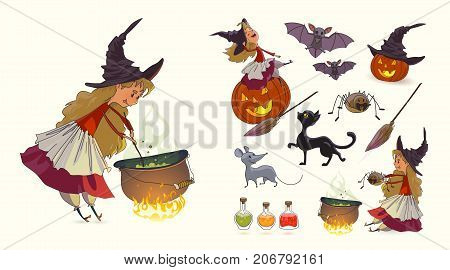 Set of illustrations for Halloween. Young funny witch pot with potion broom pumpkin spider cat mouse rat bat witch's hat. Set of characters for Halloween. Vector