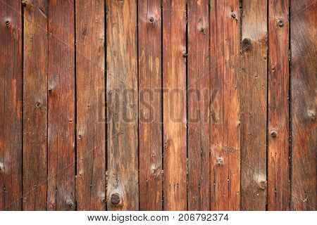 Vertical Barn Wooden Wall Planking Texture. Reclaimed Old Wood Slats Rustic Background. Home Interior Design Element In Modern Vintage Style. Hardwood Dark Brown Timbered Structure. Closeup poster