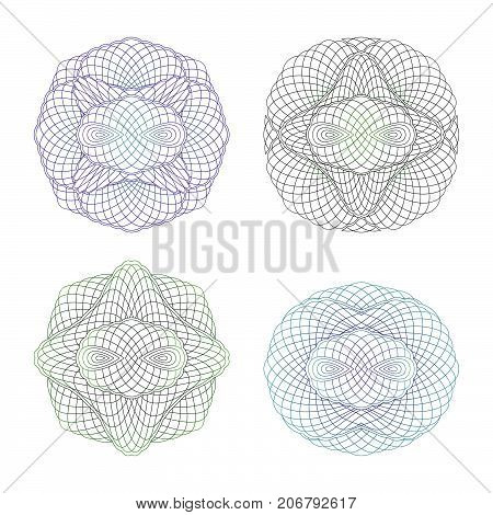 Four Decorative Protective Elements. Set of Guilloche Rosettes on a White Background.