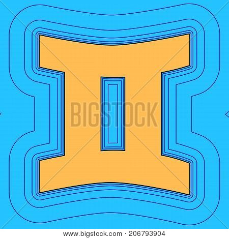 Gemini sign. Vector. Sand color icon with black contour and equidistant blue contours like field at sky blue background. Like waves on map - island in ocean or sea.