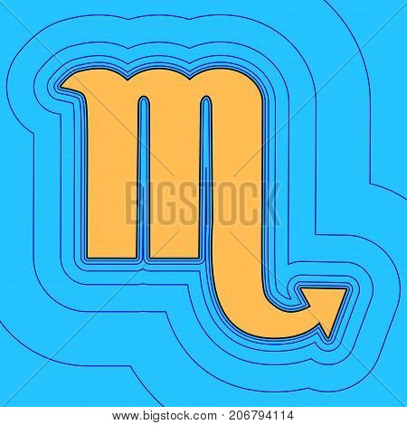 Scorpio sign illustration. Vector. Sand color icon with black contour and equidistant blue contours like field at sky blue background. Like waves on map - island in ocean or sea.