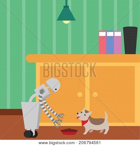 Domestic robot feeding a pet dog. Personal robot housekeeping futuristic concept illustration vector.