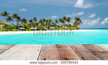 Combination Of Wooden Front With Blurred Tropical Island Background