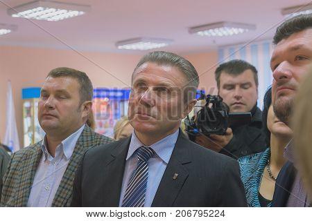 Zhytomyr Ukraine - September 05 2015: President of Ukraine Olympic Committee Sergiy Bubka at Zhytomyr interior conference
