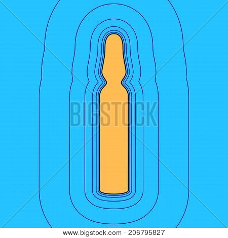 Medical ampoule sign. Vector. Sand color icon with black contour and equidistant blue contours like field at sky blue background. Like waves on map - island in ocean or sea.