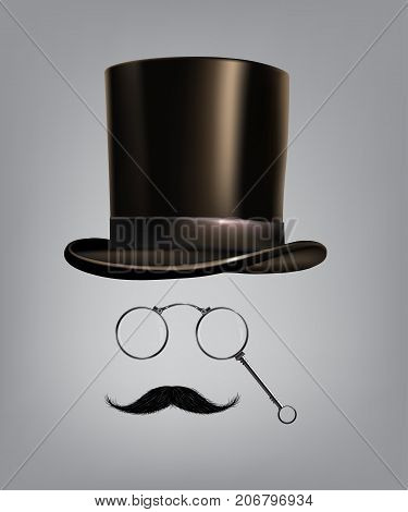 Gentleman accessories: hat cylinder, lorgnette and moustache Vector