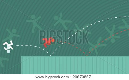 Bouncing on surface falling people figures, vector illustration color cartoon, horizontal