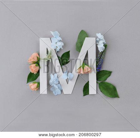 Composition with letter M and beautiful flowers on color background