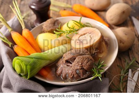 pot au feu,broth with meat and vegetable
