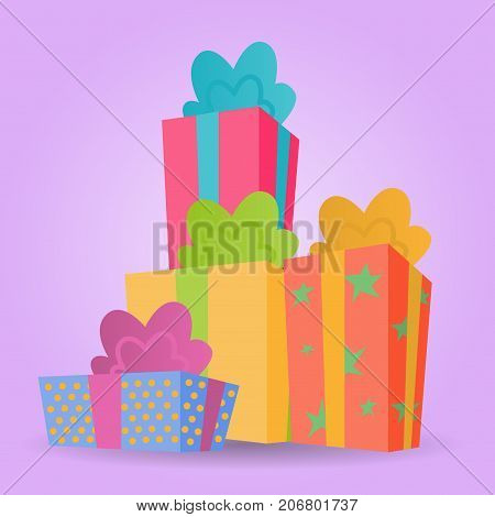 Pile of colorful Christmas presents tied with a ribbon. Cartoon gift boxes on a pink background.