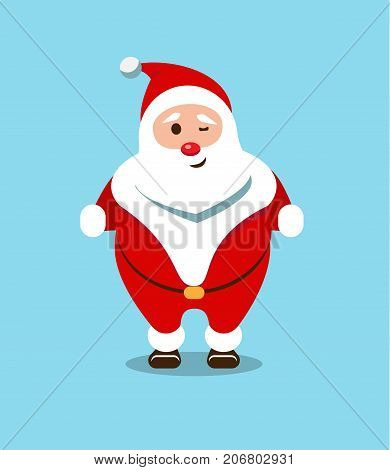 Festive Santa Claus. Kind bearded hero. Christmas old man in a red fur coat. Sports sticker for winter celebrations.