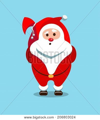 Festive Santa Claus. Kind bearded hero. Sticker for winter celebrations. Christmas old man in a red fur coat. Delivery of gifts.