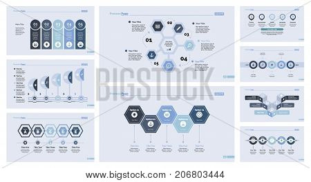 Development set can be used for presentation, statistics, marketing. Business data concept with options and comparison diagrams, process charts