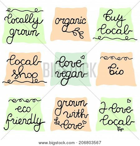 Buy local badge set. Vector hand drawn collection. Locally grown, love vegan, Bio, local shop, organic, eco friendly quality stamps