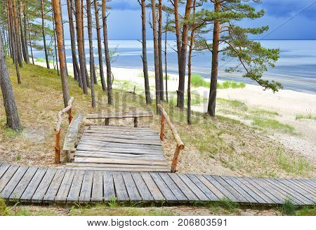Scenic view on the Baltic Sea just before thunderstorm, Biosphere Nature Reserve, Latvia