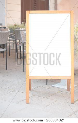 Signboard frame stand blank menu cafe, bar, restaurant outdoors