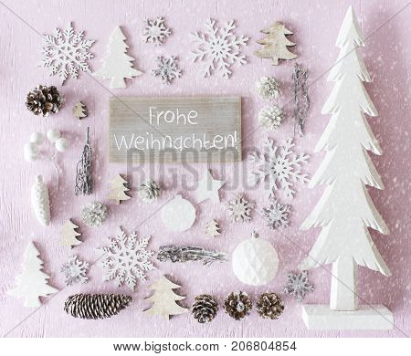 Sign With German Text Frohe Weihnachten Means Merry Christmas. Flat Lay Of Christmas Decoration Like Tree, Ball, Star And Fir Cone. Rose Quarty Wooden Background With Snowflakes