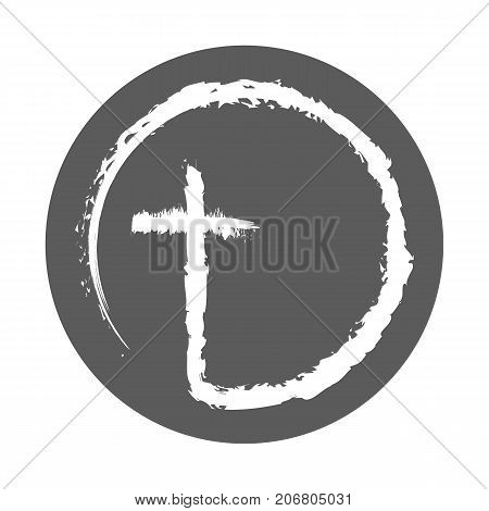 Christian cross icon in the circle. Abstract christian cross isolated on white background. Vector illustration.