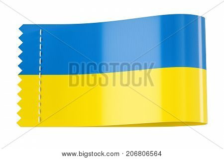 Clothing tag label with flag of Ukraine. 3D rendering isolated on white background