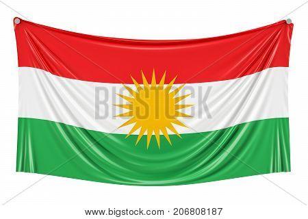Iraqi Kurdistan flag hanging on the wall 3D rendering