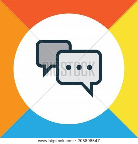 Premium Quality Isolated Conversation Element In Trendy Style.  Comment Colorful Outline Symbol.