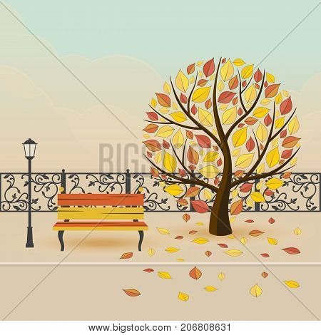 Autumn city park. tree with falling leaves. Vector illustration.
