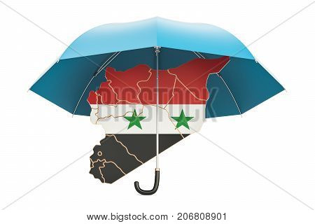 Syrian map under umbrella. Security and protect concept 3D rendering