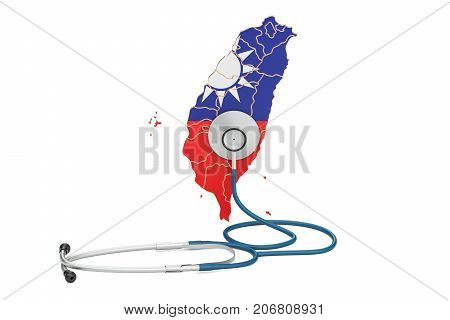 Taiwanese map with stethoscope national health care concept 3D rendering