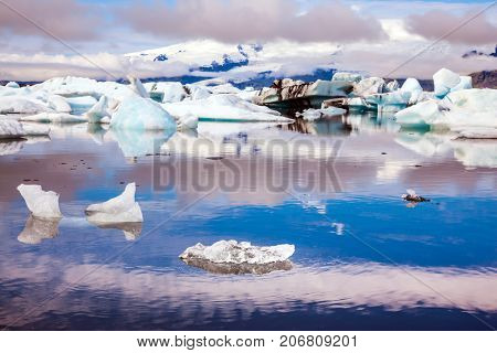Ice floes are reflected in the smooth water surface of Ice Lagoon. The concept of extreme northern tourism