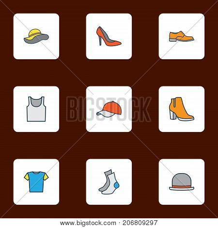 Garment Colorful Outline Icons Set. Collection Of Underwear, Panama, Heels And Other Elements