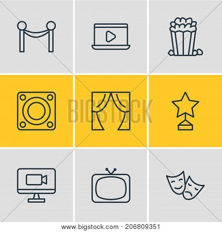 Editable Pack Of Monitor, Tragedy, Theater And Other Elements.  Vector Illustration Of 9 Film Icons.