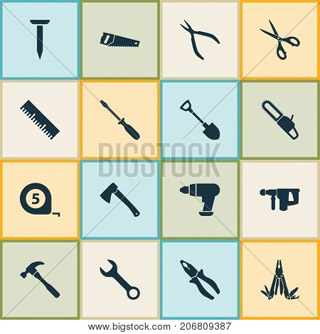 Repair Icons Set. Collection Of Handsaw, Axe, Turn-Screw Elements
