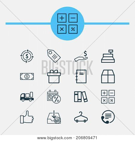 Commerce Icons Set. Collection Of Recommended, Till, Telephone And Other Elements