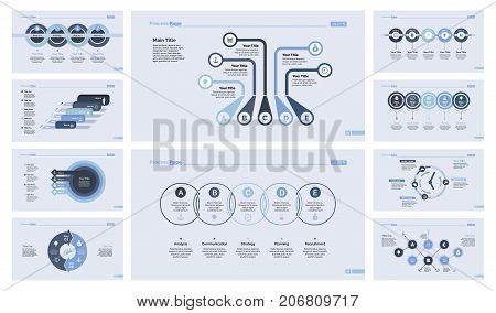 Process and workflow chart set for inforgraphic, presentation, web design. Business and management concept. Process chart, timing and date graph, donut chart, flowchart, timetable