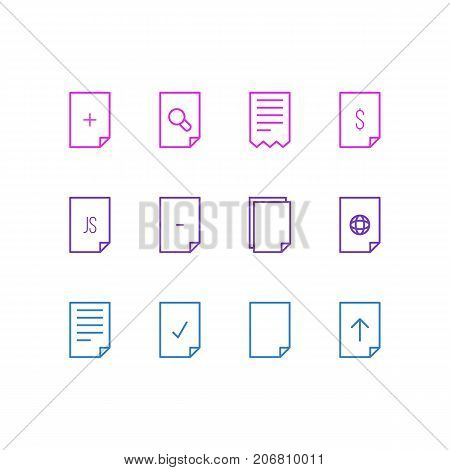 Editable Pack Of Document, Done, Internet And Other Elements.  Vector Illustration Of 12 Page Icons.
